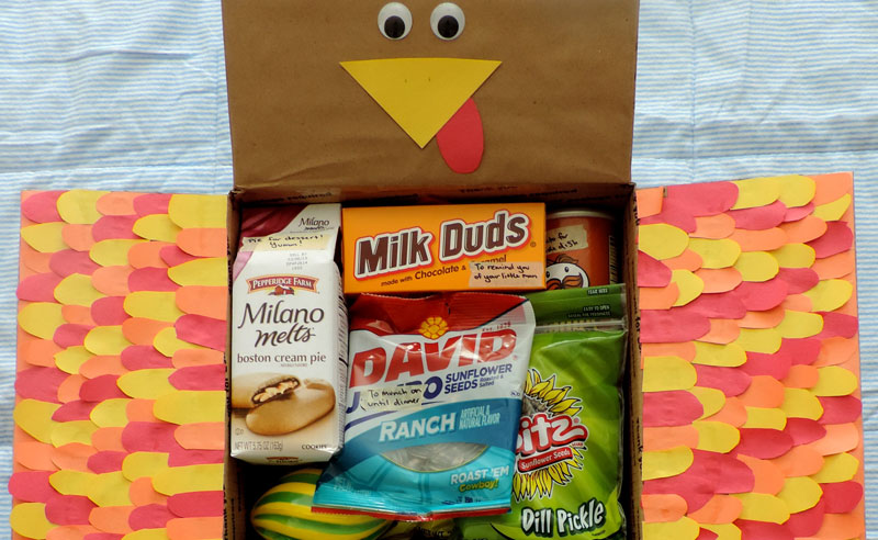 Sending a Thanksgiving care package is a great way to spread the holiday spirit when you cannot be home. Here are a 20 festive ideas!