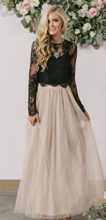 This black lace top is so cute with this skirt.