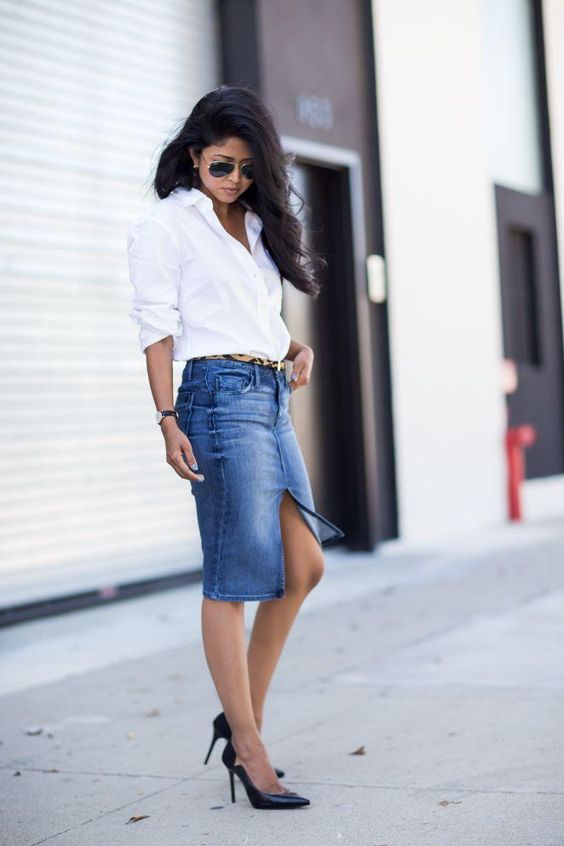 denim skirt and button down