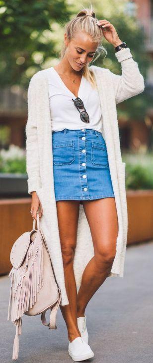 denim skirt and sweater