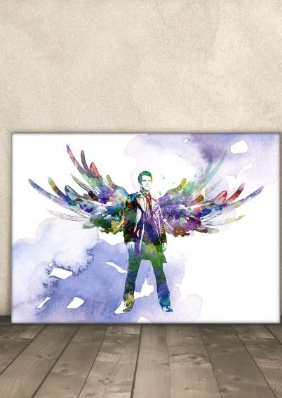 This Supernatural painting is a beautiful image of Castiel.