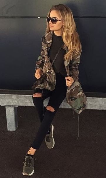 I love this camouflage print utility jacket for the spring!