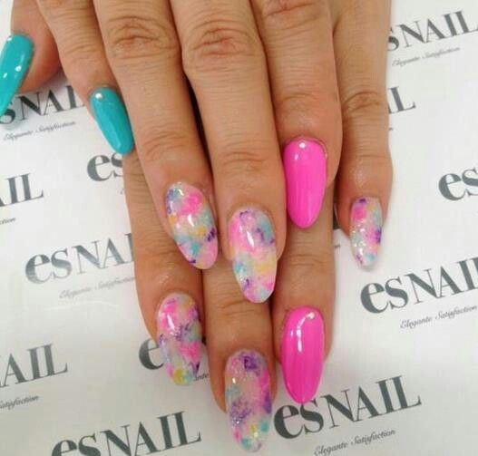 Cotton Candy Glitter Nails: Round Up Of The 50 Prettiest Almond Nails On Pinterest