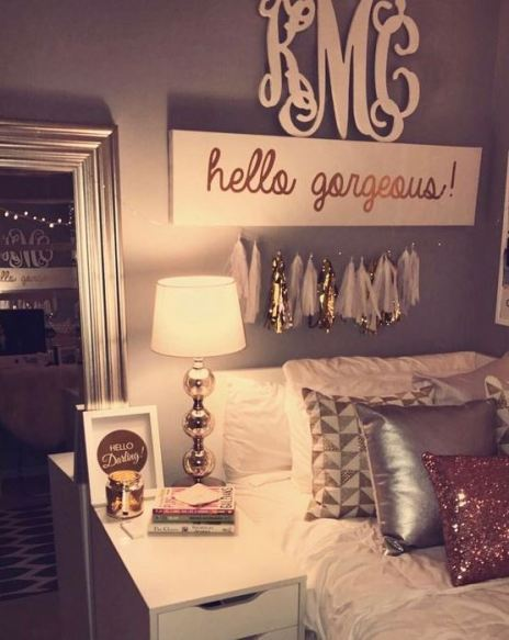 This girly dorm room is full of cute dorm room ideas!