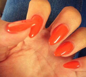 These Orange Almond Nails Border On A Coral But Stay Away From The Neon Highlighter Shades They Are Perfect For Bright Early Summer Day