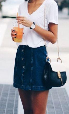 This denim mini skirt is so cute!