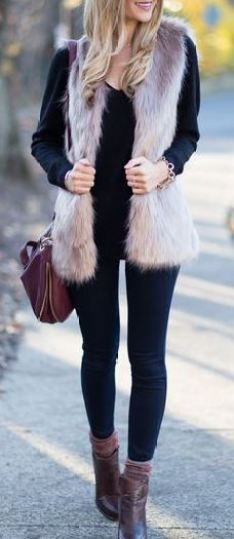 This fur vest is so cute for a winter outfit!