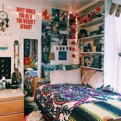 This colorful bohemian room is full of cute dorm room ideas!