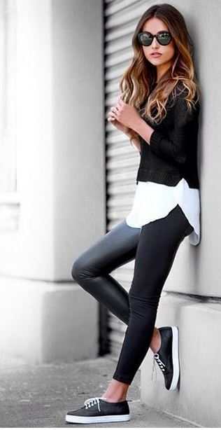 20 Ways To Wear Leather Leggings With Your Outfit , Society19