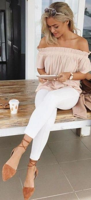 Ruffle off the shoulder tops make cute summer outfits!