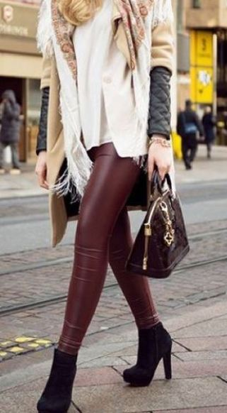 These colored leather leggings are such a cute outfit for fall or winter!