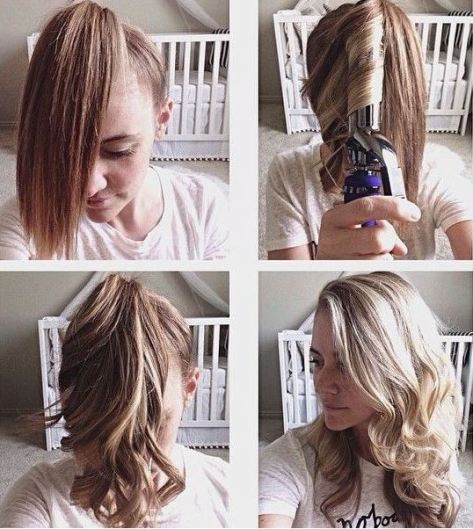 Put your hair in a ponytail to curl it!