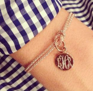 This monogram gold knot bracelet is so cute!