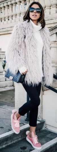 Shaggy fur coats are perfect for winter date night outfits!