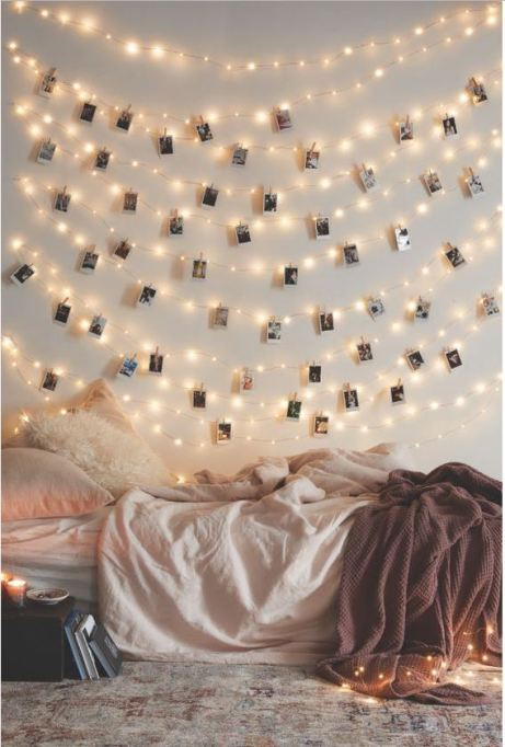 Stringing fairy lights are the perfect ways to decorate your dorm room!