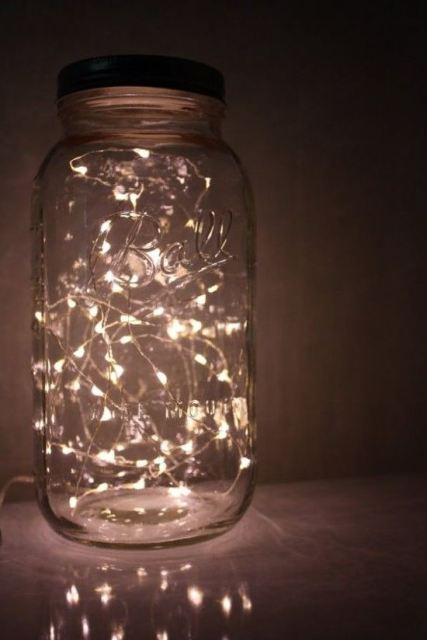 Jarred lights are awesome ways to decorate your dorm room!