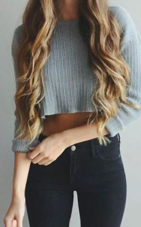 Sweaters make such cute crop tops for the winter!