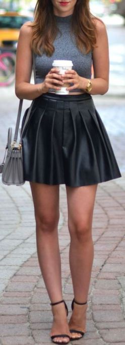 High waisted skirts go perfectly with cute crop tops!