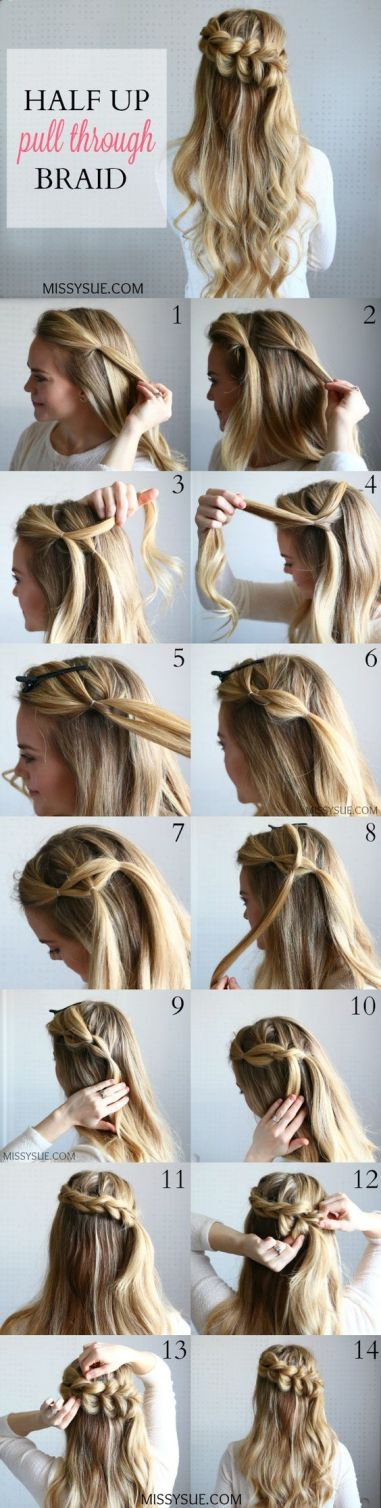 Pull through braids make such cute hairstyles for long hair!