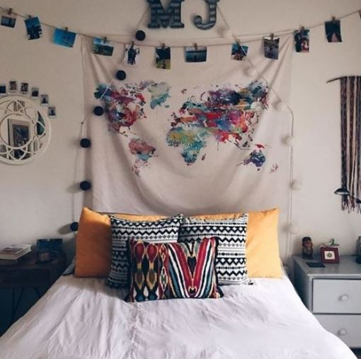 Show off your love for travel in your boho dorm rooms!