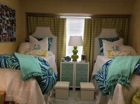 Blue and green theme is perfect for preppy dorm rooms!