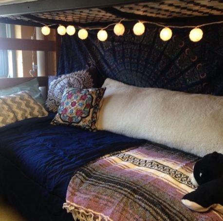 Purple And Yellow Dorm Room