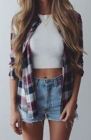 Flannels are the perfect addition to cute crop tops!