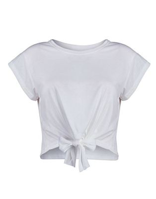 7e48869e533 This cute crop top is a spin off from your average basic t-shirt. Knotted  in the middle to instantly cinch any girl's waist, this look pairs well  with high ...