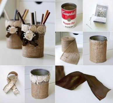 A burlap pencil holder is a great DIY dorm room decor idea!