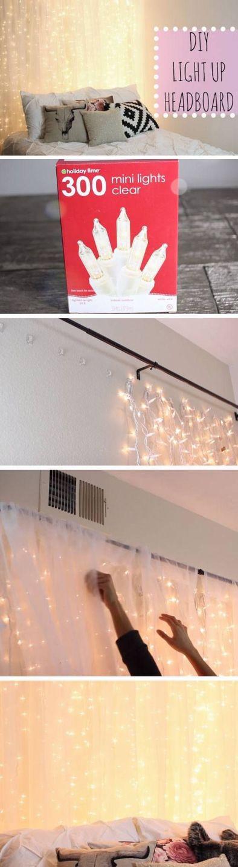 A light up headboard is a great DIY dorm room decor idea!