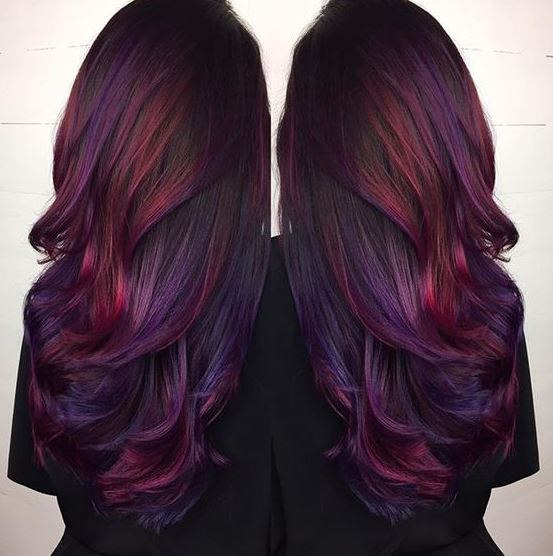 Purple and pink are so cute for brunette ombre hairstyles!