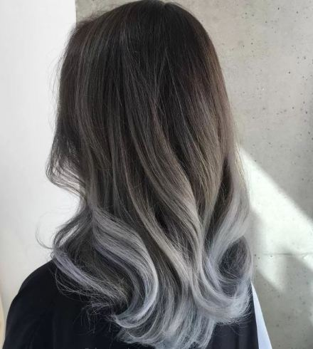 Silver is super cute for brunette ombre hairstyles!
