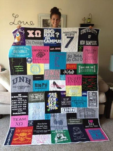 A t-shirt blanket is a great DIY dorm room decor idea!
