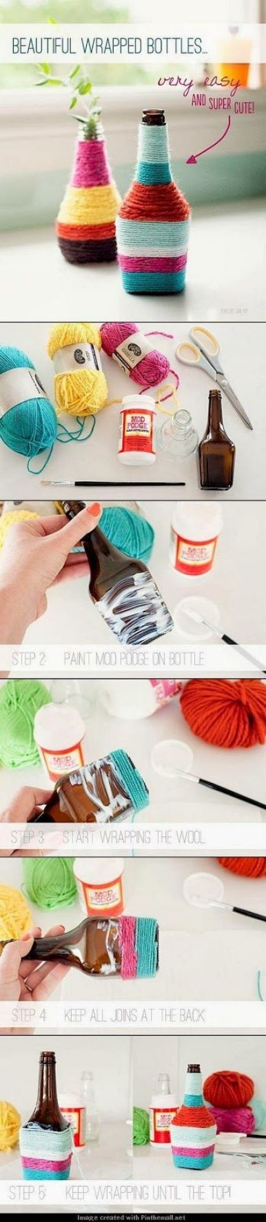 Yarn wrapped bottles are a great DIY dorm room decor idea!