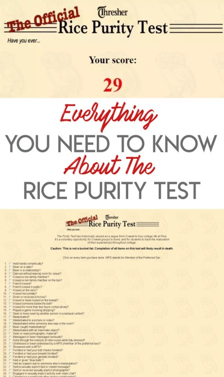 Everything You Need To Know About The Rice Purity Test - Society19