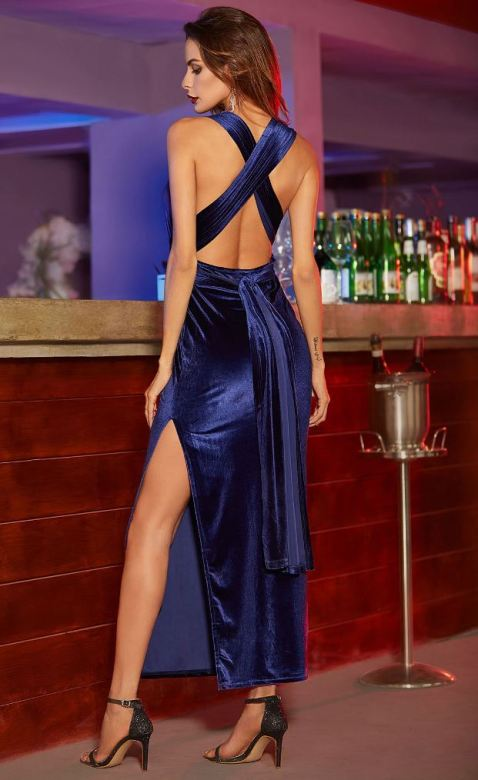 Long velvet dresses are perfect sexy club dresses!