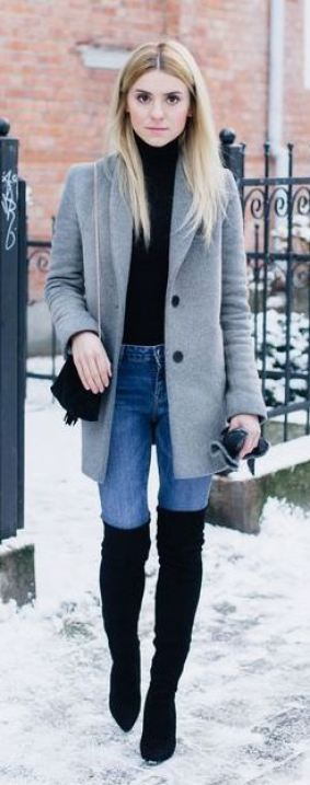 The classic pea coat completes an ordinary thigh high boots outfit