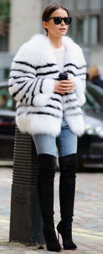 Fur compliments a great thigh high boots outfit