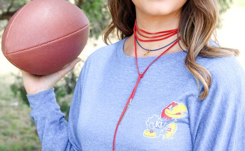 Get ready with these adorable gameday outfits at The University of Kansas. These stylish options will prepare you and your girlfriends for some school spirit!