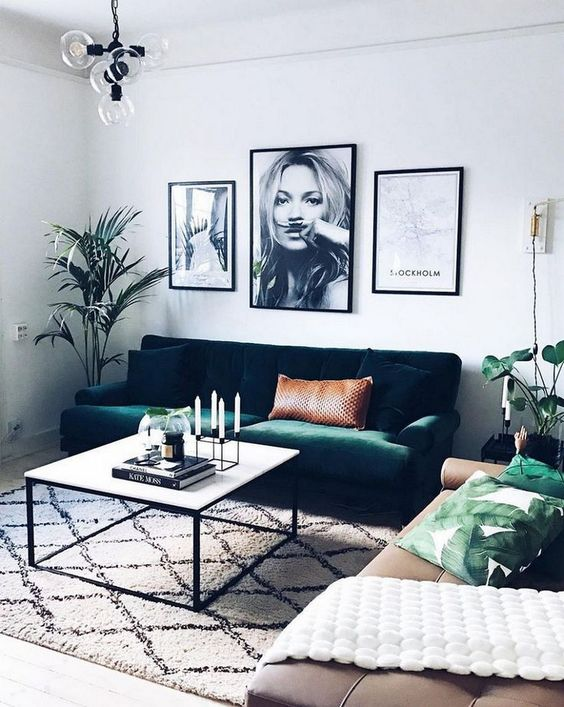 Grab some green accents for cute living room ideas with an urban oasis in mind.