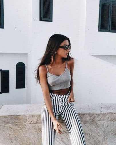These are the cutest high waisted striped pants!
