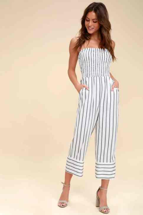 Check out this stylish striped culotte jumpsuit!