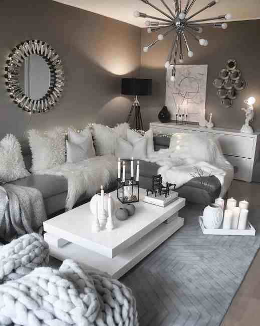 white and grey cozy living room decor