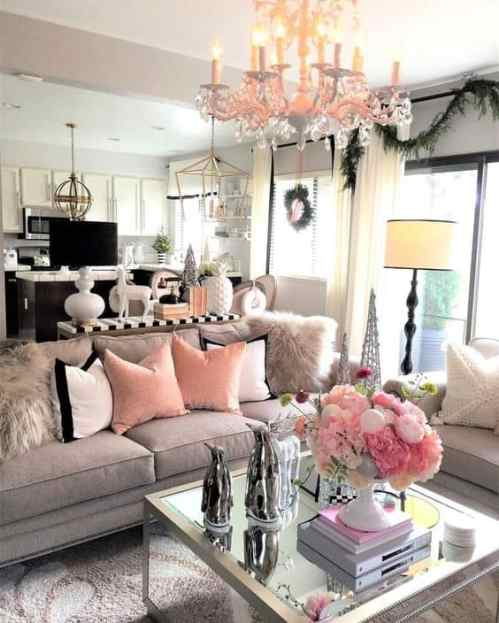 grey and pink cozy living room decor