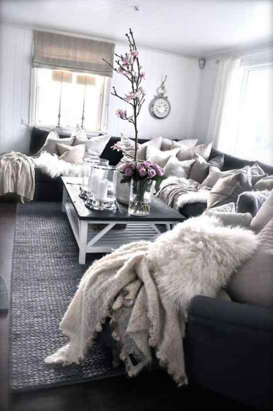 dark grey, white and silver cozy living room decor