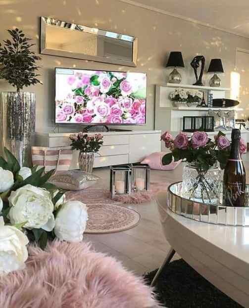 white and pink cozy living room deco