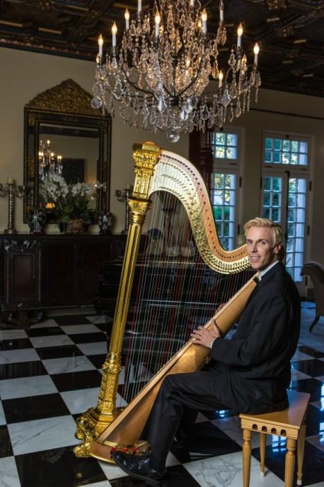 harpist ted nicholson with harp