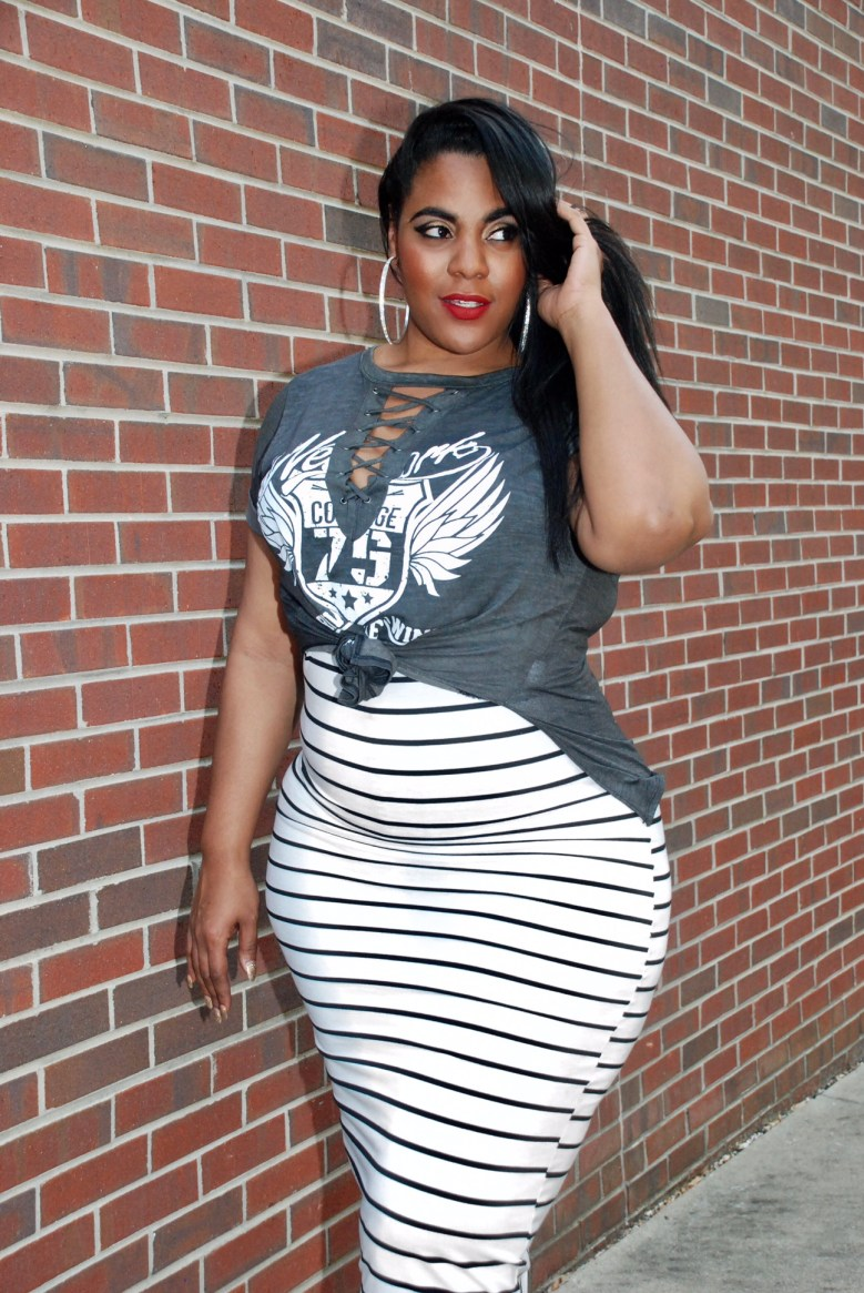 Black and White Striped Off-The-Shoulder Body Con Dress, Plus Size, Striped BodyCon Dress, Grey Lace Up Rocker Tshirt