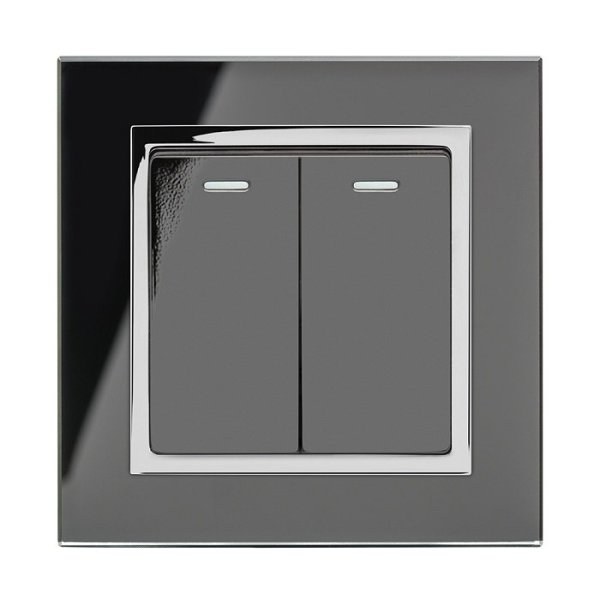 Retrotouch_Crystal_2_Gang_Light-Switch_Chrome-Trim_Black_Front