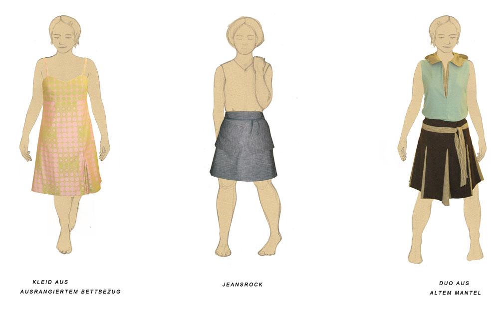 Upcycling-Kleidung, Entwürfe zu Upcycling-Kleidung  Schneiderin Rachel Kopp fertigt hochwertige Upcycling-Kleidung